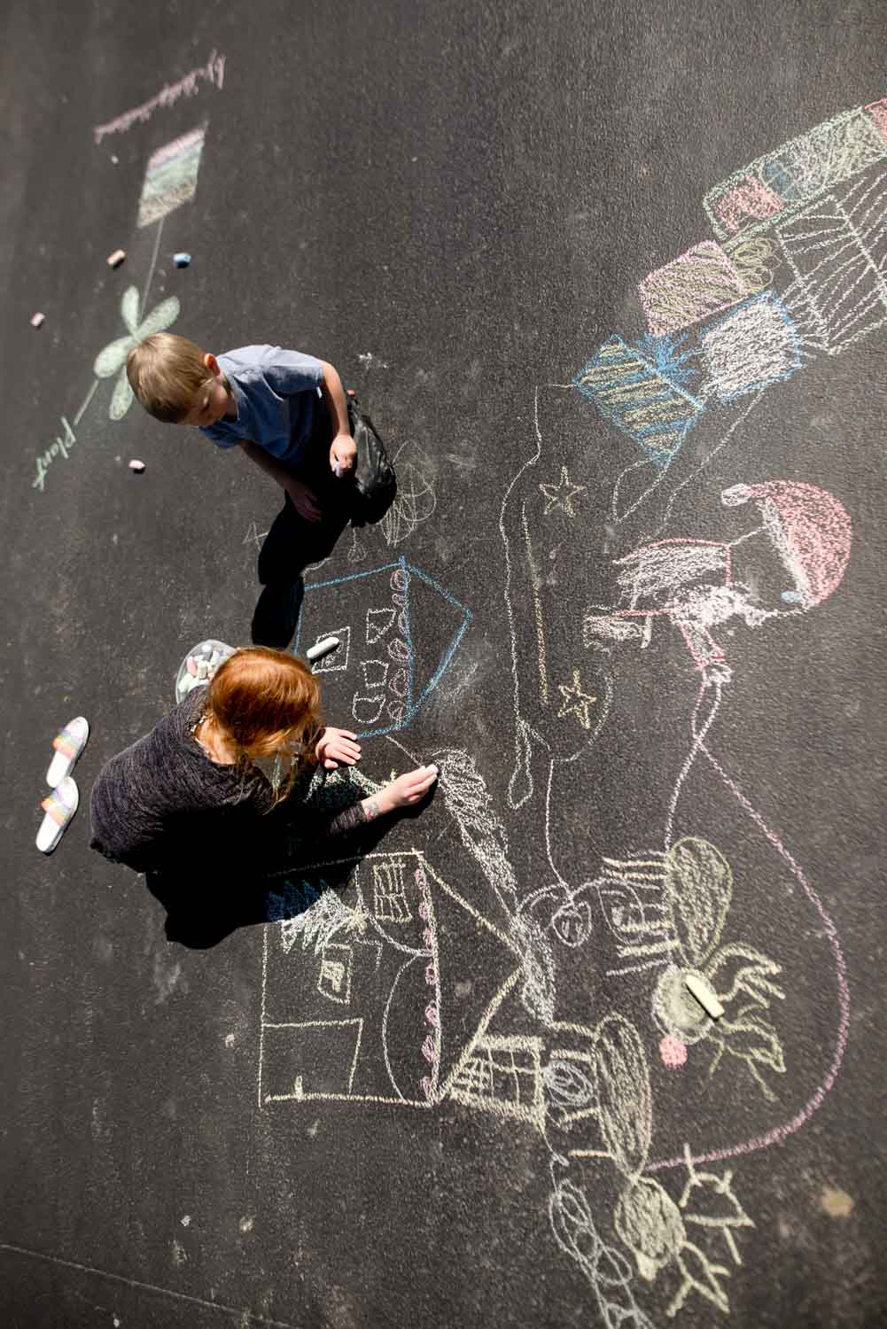 Big art project using shadow tracing as inspiration for kids