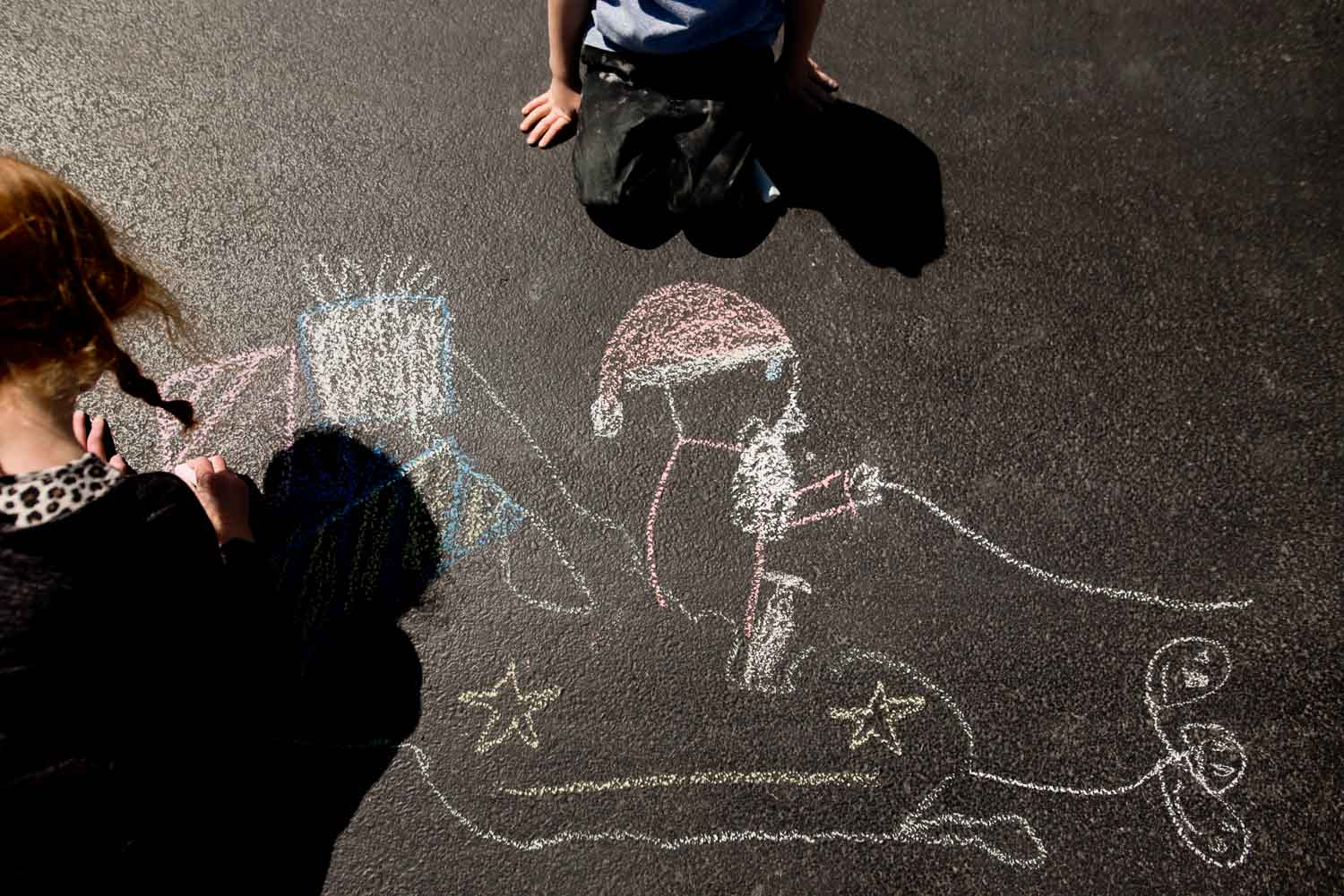 Shadow tracing art activity for kids turns into Santa sleigh