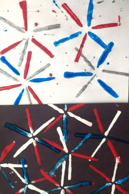 What better way to get ready for the 4th of July than painting your own fireworks with straws! Kids of all ages will have a blast with fireworks painting!