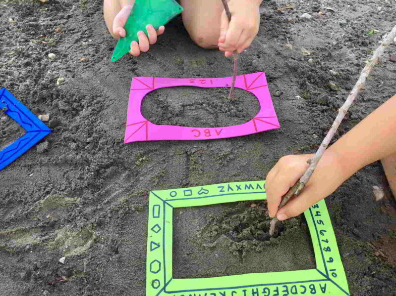Sandbox activity for your kids to create art and build fine motor.