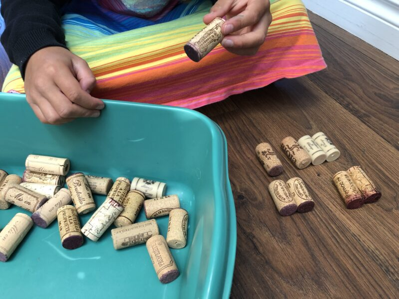 We've put together a collection of wine cork activities for kids. Like this one: Wine Cork Matching.