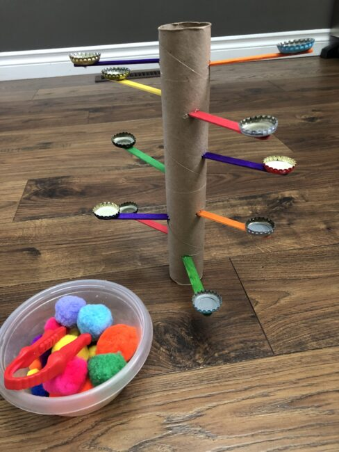 Make an engaging pom pom balance tree out of supplies you already have and work on fine motor skills while having a few good laughs!