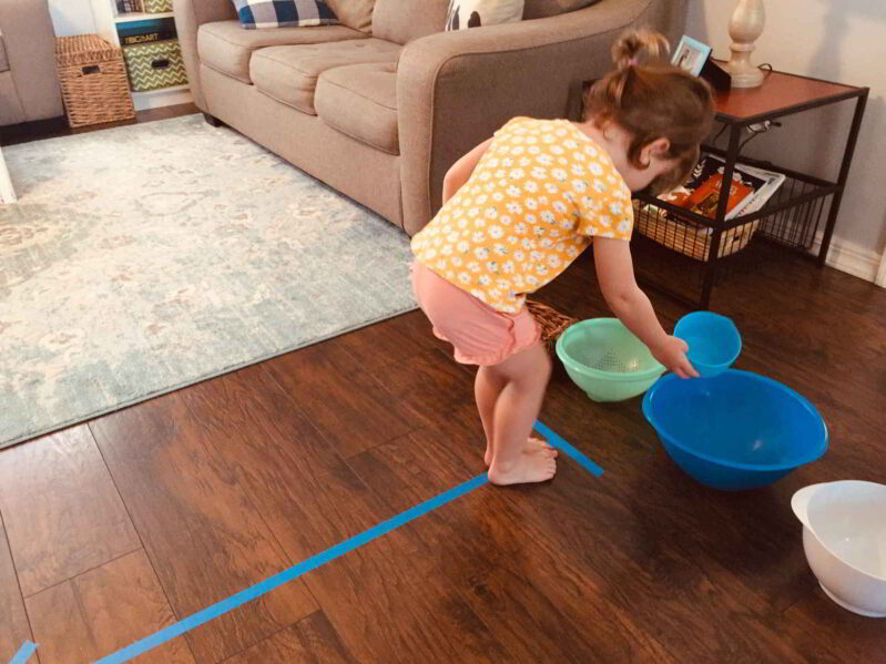 Try this fun balance beam color match game for your toddler!