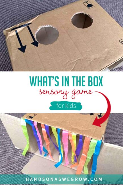Practice important sensory skills with a fun box activity. Your child will love playing detective with this DIY Guess What's in the Box game!