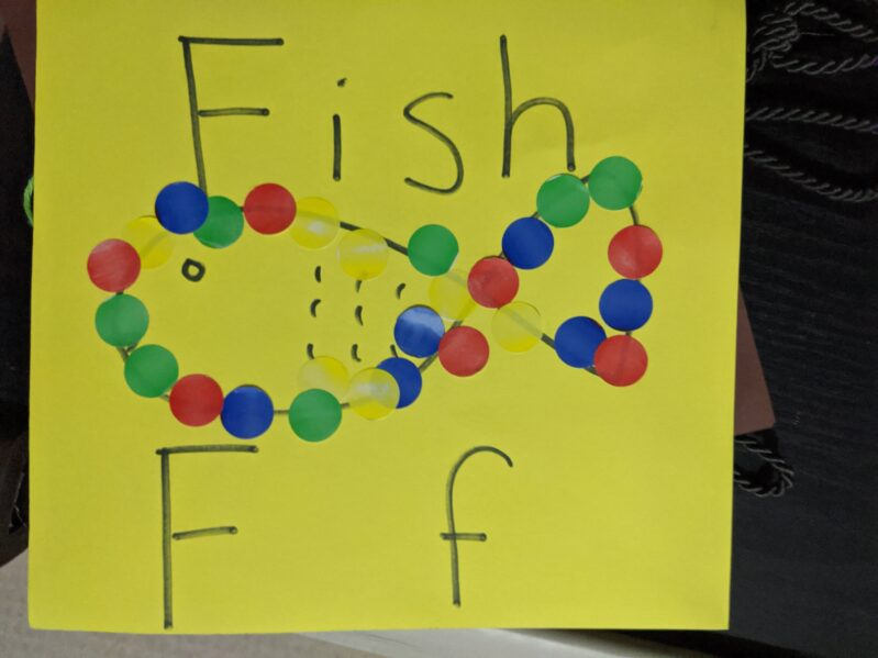 Sticker tracing with F for fish.