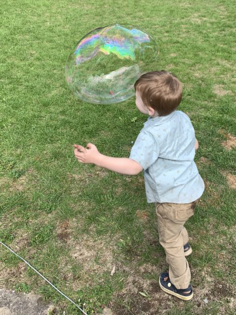 How to make DIY giant bubble wands made from items in your home.