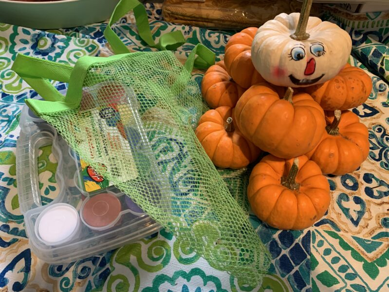 Supplies needed for fall pumpkin hunt and name sort activity for preschoolers