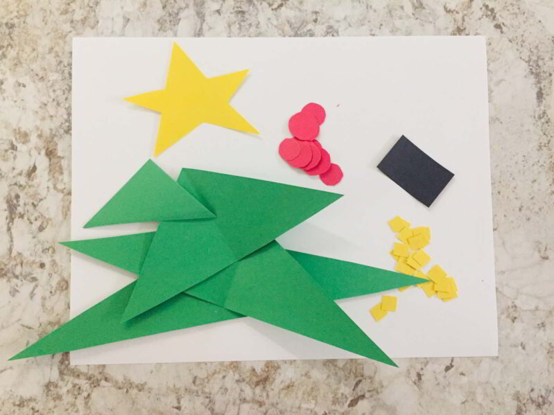 Make this simple Christmas tree shapes craft to celebrate the season with your toddlers and preschoolers!