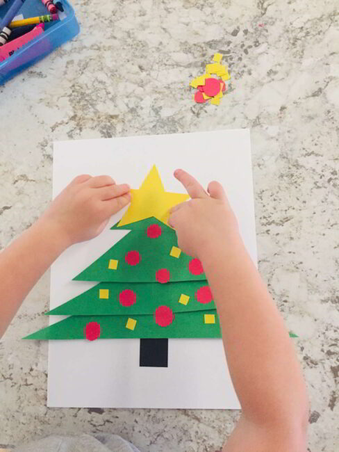 Make this simple Christmas tree shapes craft to celebrate the season with toddlers and preschoolers!
