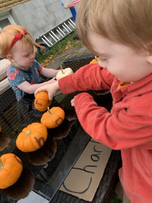 A super simple fall pumpkin scavenger hunt with a name sorting twist.