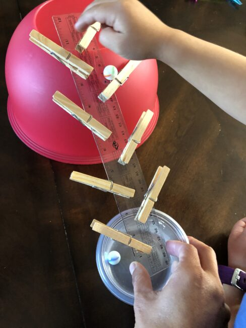 Ruler marble run science and fine motor activity for kids