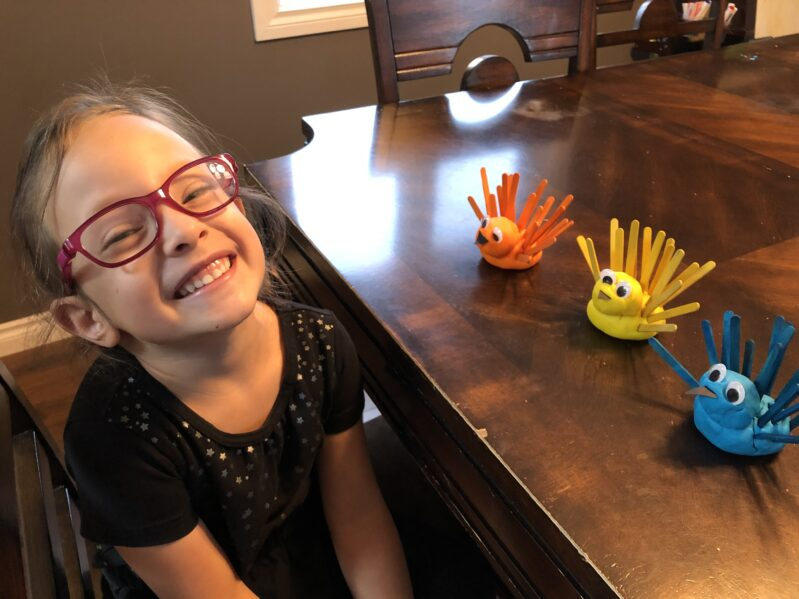 Thanksgiving play dough turkey fine motor color match activity for young kids.