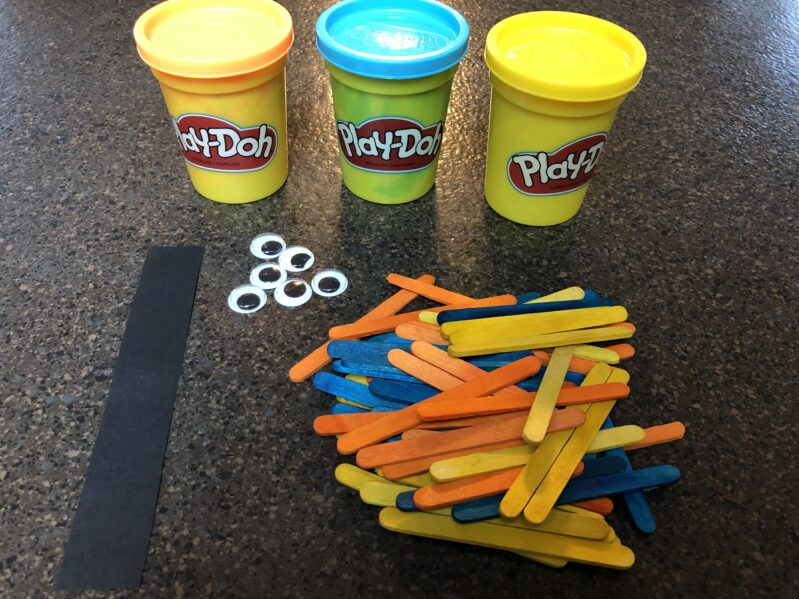 Supplies needed for super simple turkey color match activity for Thanksgiving.