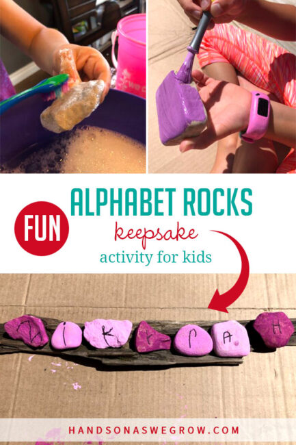 Go on a nature hunt to create alphabet rocks and make this unique name craft with you little ones! Super simple activity full of creativity.