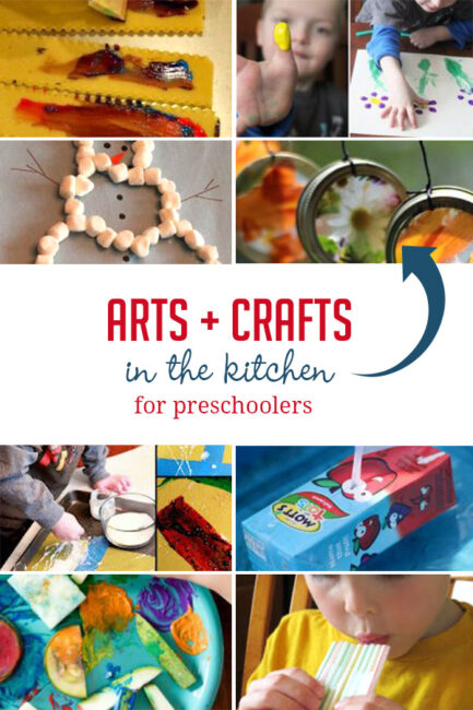 Arts and crafts for preschoolers to enjoy in the kitchen using supplies from your cupboards and pantry!