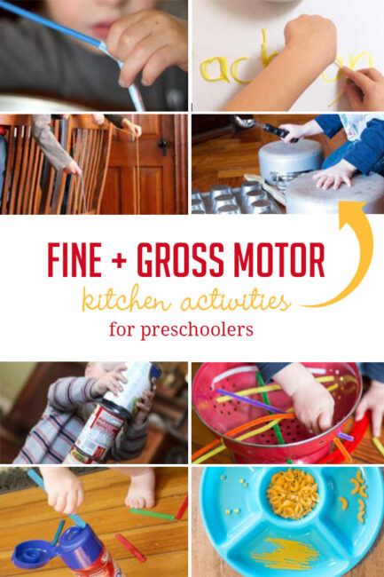 Fine and gross motor activities for preschoolers to enjoy in the kitchen using supplies from your cupboards and pantry!