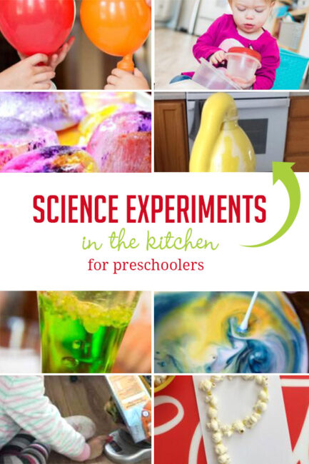 Science experiments for preschoolers to enjoy in the kitchen using supplies from your cupboards and pantry!