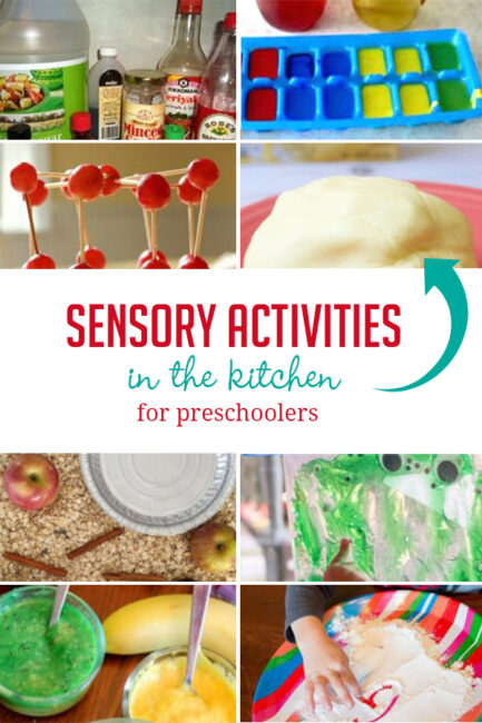 Sensory activities for preschoolers to enjoy in the kitchen using supplies from your cupboards and pantry!