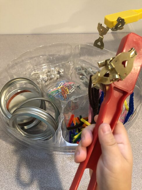 Use magnet wands to go on a magnetic loose parts scavenger hunt for making magnetic tiles robots.