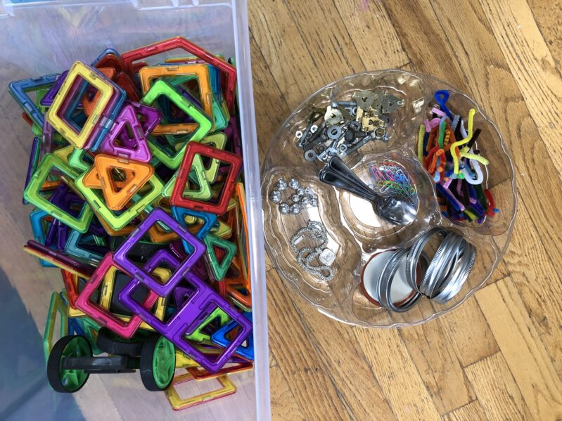 Supplies needed to create magnetic tiles robots with your kids.