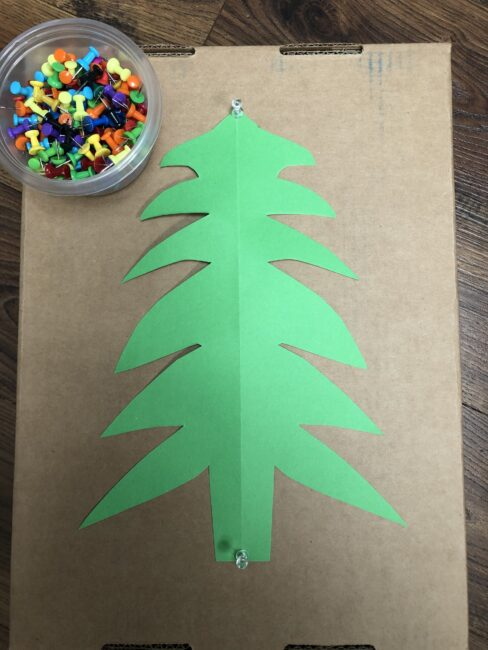 Simple supplies needed for fine motor Christmas tree activity for kids