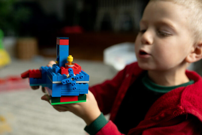 Fine motor creative play with Christmas LEGO block challenge for kids.