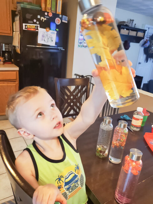 Our ROOM Member of the Month, Kayla, shares a simple fall sensory bottles activity with us! Your kids will love making these for any season.