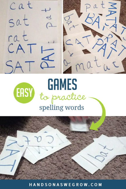 Learning to spell can be fun! Here are a couple super simple games to practice spelling words and sight word recognition. Give them a try.