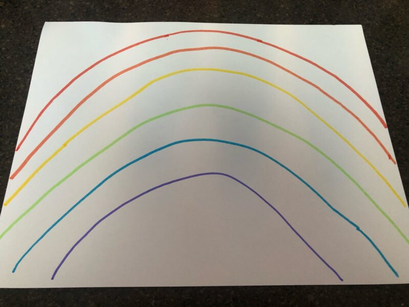 First draw a rainbow with all the colors
