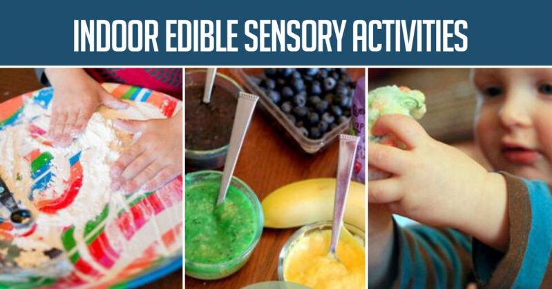 Here is an extensive list of indoor sensory activities for preschoolers and toddlers. Try one on your next rainy or snow day.