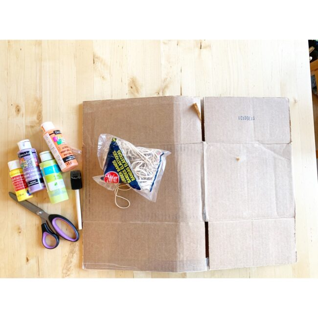 Supplies needed to create quick and easy rubber band transfer art prints.