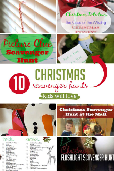 10 ways to go on a Christmas scavenger hunt with the kids, from finding lights to free printables to a hunt at the mall.
