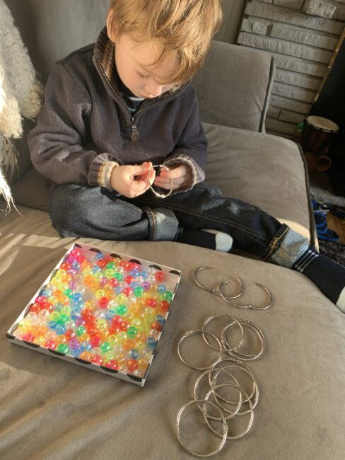 Beading shower curtain rings fine motor activity for preschoolers