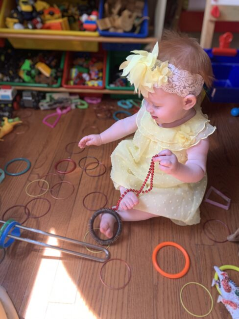 Super simple DIY ring stacking toy activities for baby using items you have at home. Easy fine motor activity