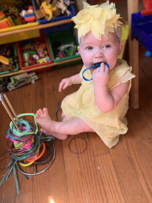Super simple DIY ring stacking toy activities for baby using items you have at home.