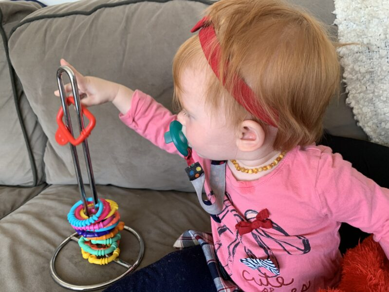 Simple ring stacking toy DIY for a fine motor activity for toddlers and baby.