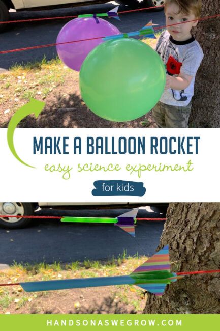 This is a super simple science experiment with balloon rockets for kids. Teach them about Newton's third law of motion or simply have some fun!