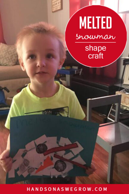 A low prep and super easy melted snowman craft for toddlers and preschoolers to make using their own creativity and learn about shapes too.