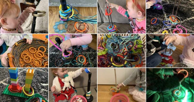 Super simple ring stacking toy fine motor activity you can DIY at home for babies and  toddlers.