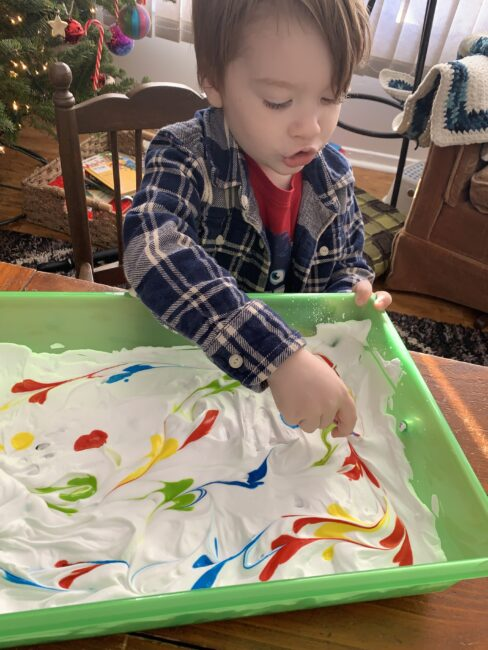 Fun and simple twist on connect the dots pre-writing activity for toddlers and preschoolers with shaving cream sensory and teaching colors.