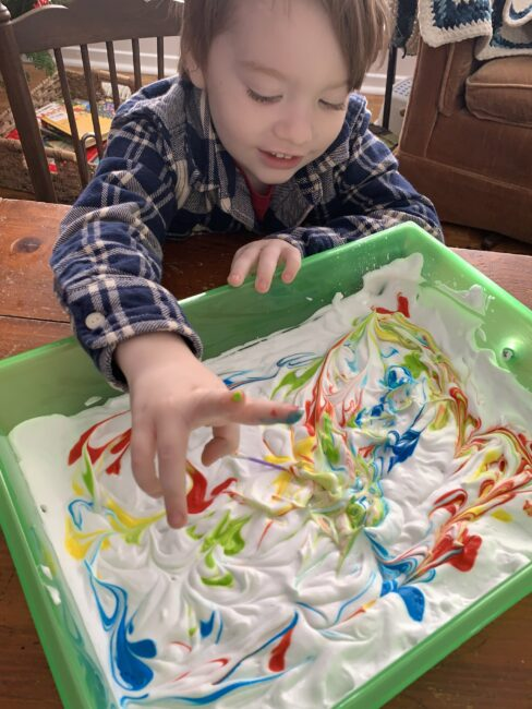 Keep tissues or cloth nearby if your kids don't like messy fingers with this activity.