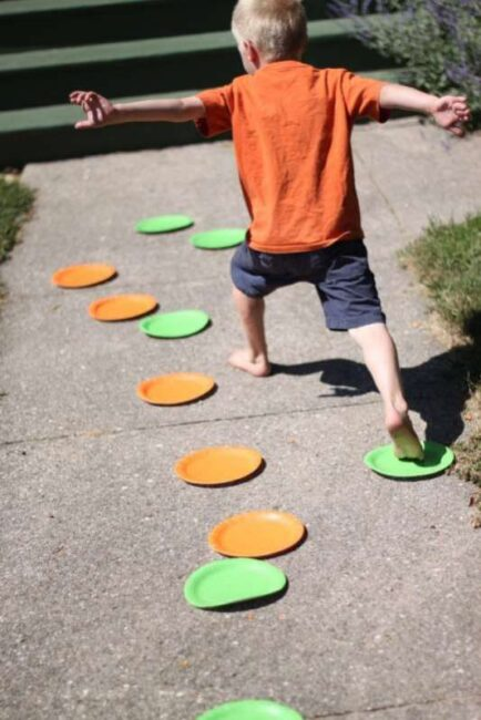 Gross Motor Jumping Paper Plate Activity