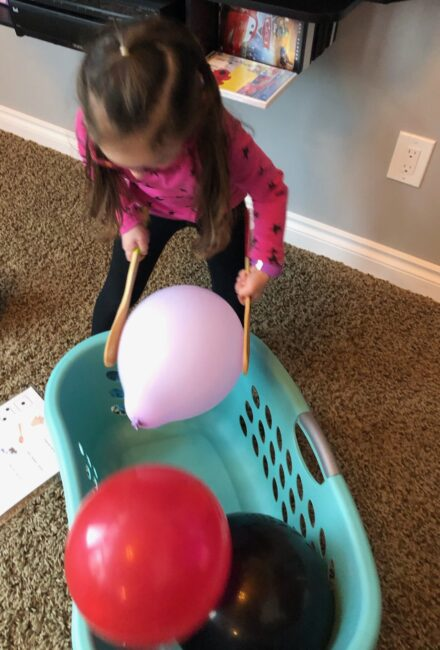 Let the dice lead the way with these super simple balloon game for kids plus work on math and counting along with gross motor fun!