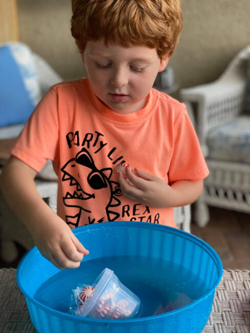 Super simple candy counting sink or float science experiment to learn counting and have some laughs! How many will it take to sink the boat?