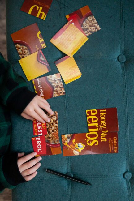 Search and solve with this simple cereal box math puzzle activity.