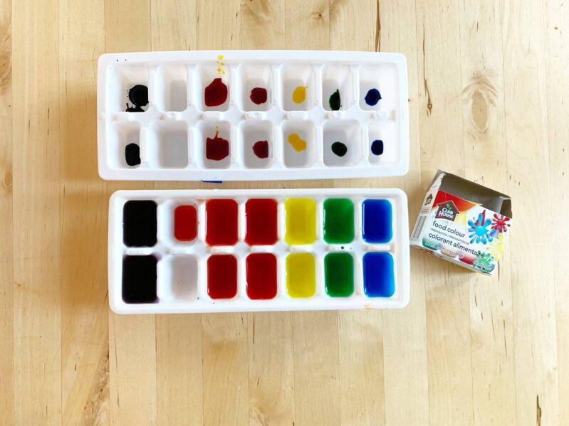 How to make rainbow ice with food coloring.