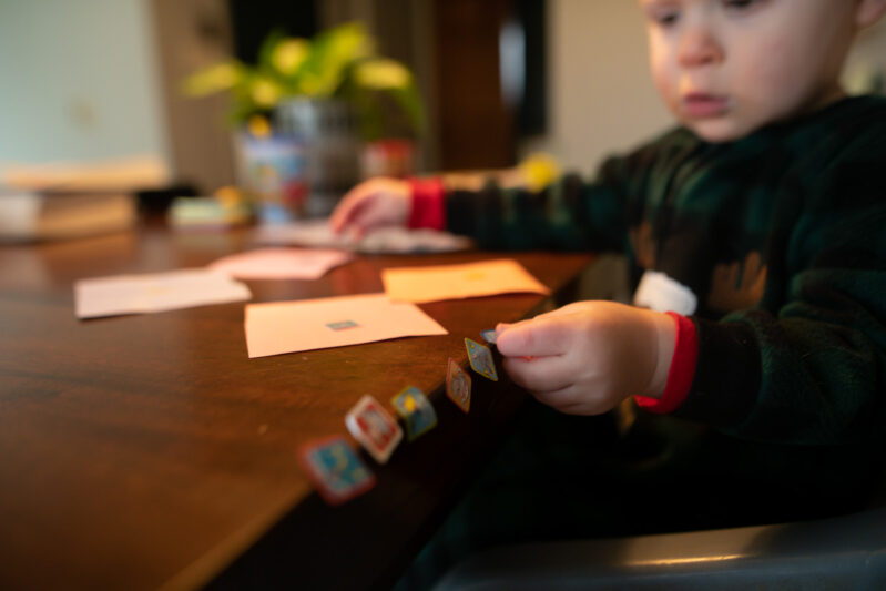 Simplest toddler fine motor and tactile busy activity yet with stickers and tape sticking. Easily modify to teach colors or just have fun!