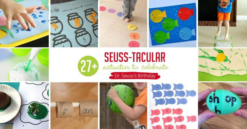 Easy and exciting Dr. Seuss themed activities for toddlers and preschoolers to do at home just in time to celebrate his birthday on March 2!