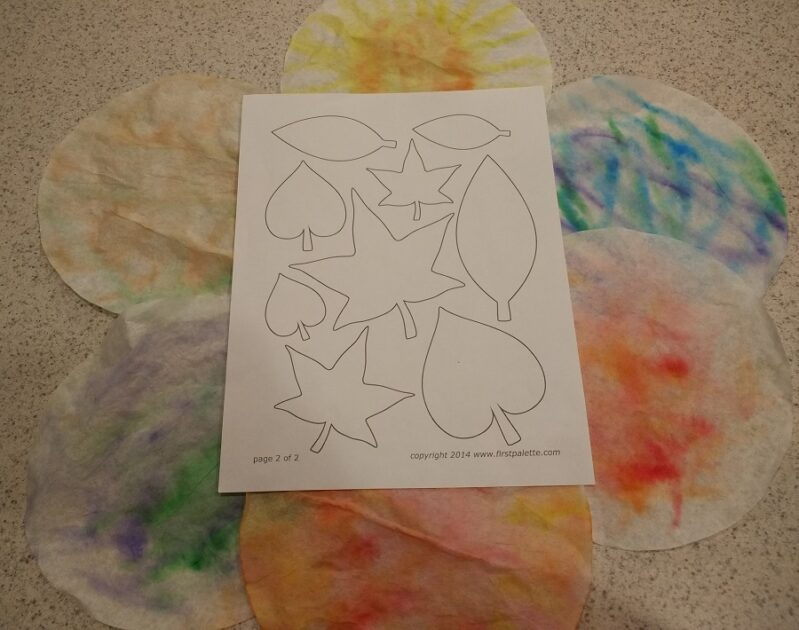 Free PDF template for cutting out leaf shapes in kids arts and crafts project at home.