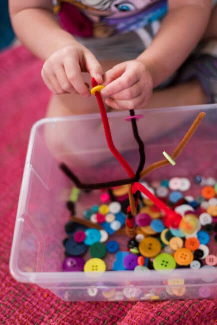 Pipe Cleaner Button Fine Motor Tree